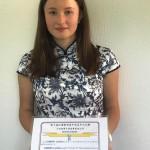 Laetitia Garron winning the 2nd. Price of Chinese Bridge Luxembourg